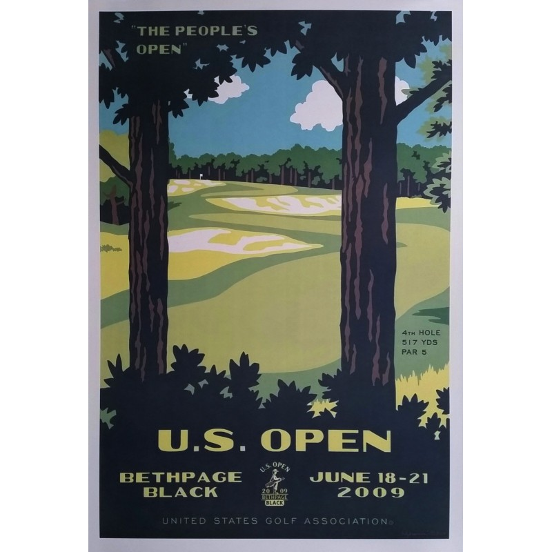 Affiche originale US Open Golf USGA Bethpage Black June 18-21 2009 - Lee Wybranski