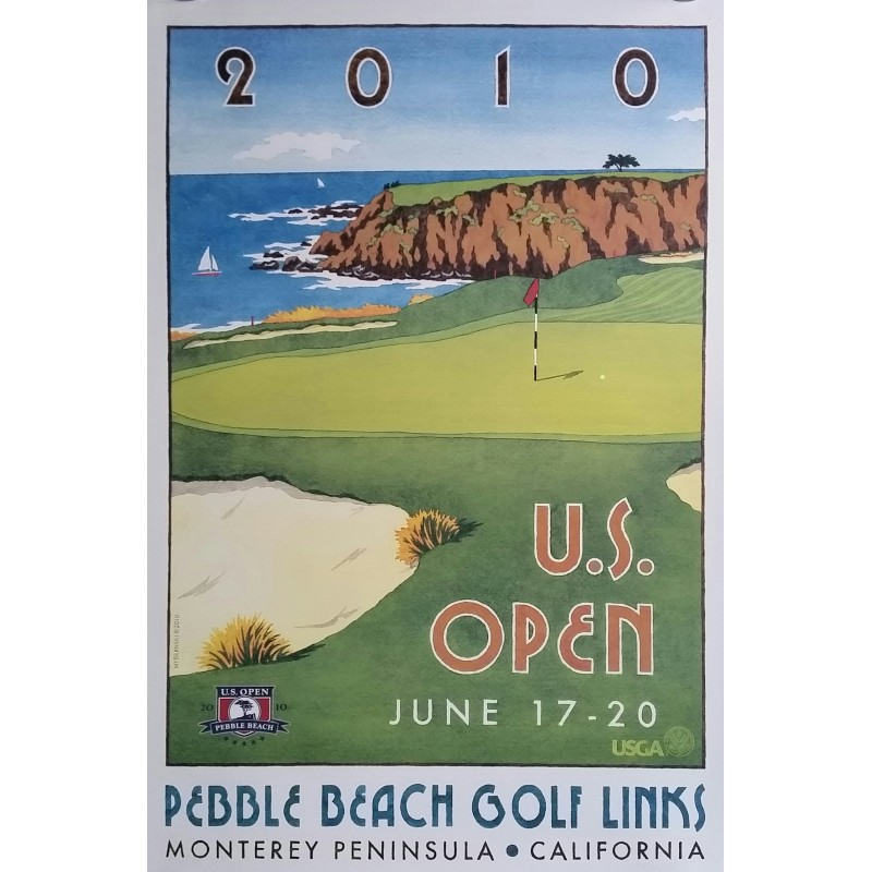 Affiche originale US Open USGA Peeble Beach Golf Links June 17-20 2010 - Lee Wybranski