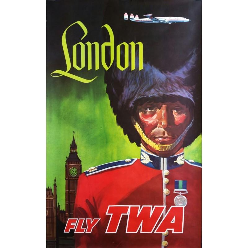 Affiche ancienne originale London Fly TWA - David KLEIN
