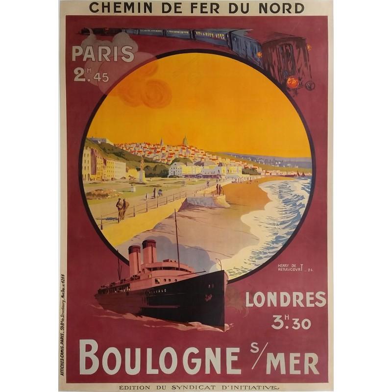Affiche ancienne originale Boulogne sur Mer Chemin de fer du Nord - Henry DE RENAUCOURT