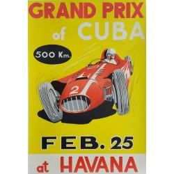 Affiche ancienne originale Grand Prix of Cuba 1957 at Havana - Juan Manuel Fangio gagne sur Maserati 300S