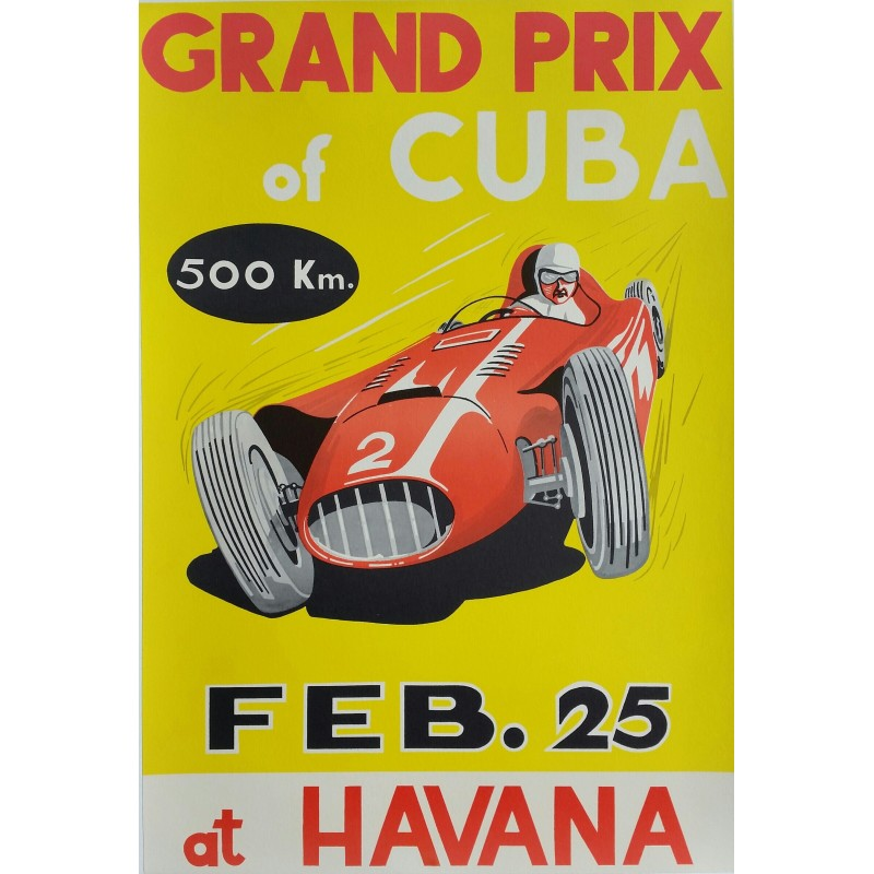 Original vintage poster Grand Prix of Cuba 1957 at Havana - Juan Manuel Fangio won on Maserati 300S