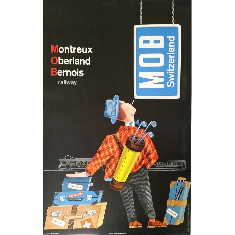 Affiche ancienne originale MOB Switzerland Montreux Oberland Bernois railway Golf