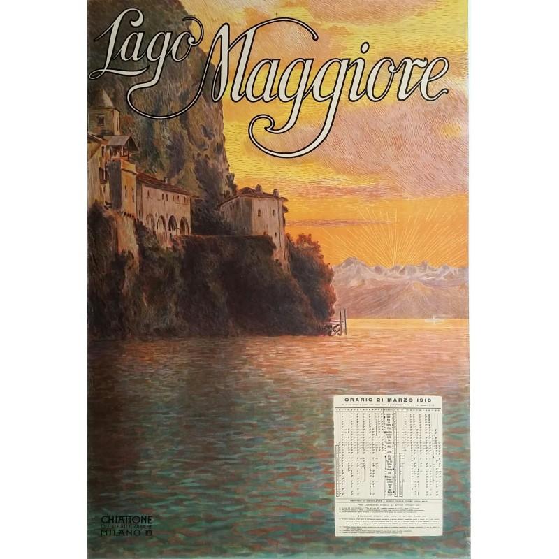 Affiche ancienne originale Lago Maggiore 1910 - Off d Arti Grafiche Chiattone Milano