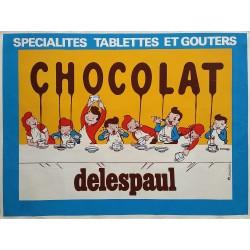 Affiche ancienne originale Chocolat DELESPAUL Spécialités Tablettes et Goûters