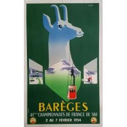 Affiche ancienne originale Barèges 41ème championnats de France de Ski 1954 - EVEN