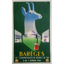 Original vintage poster Barèges 41ème championnats de France de Ski 1954 - EVEN