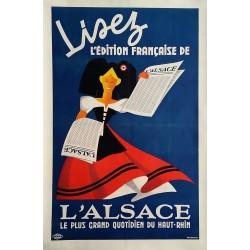 Affiche ancienne originale Lisez l'édition Française de l'ALSACE - Yves RUHLMANN