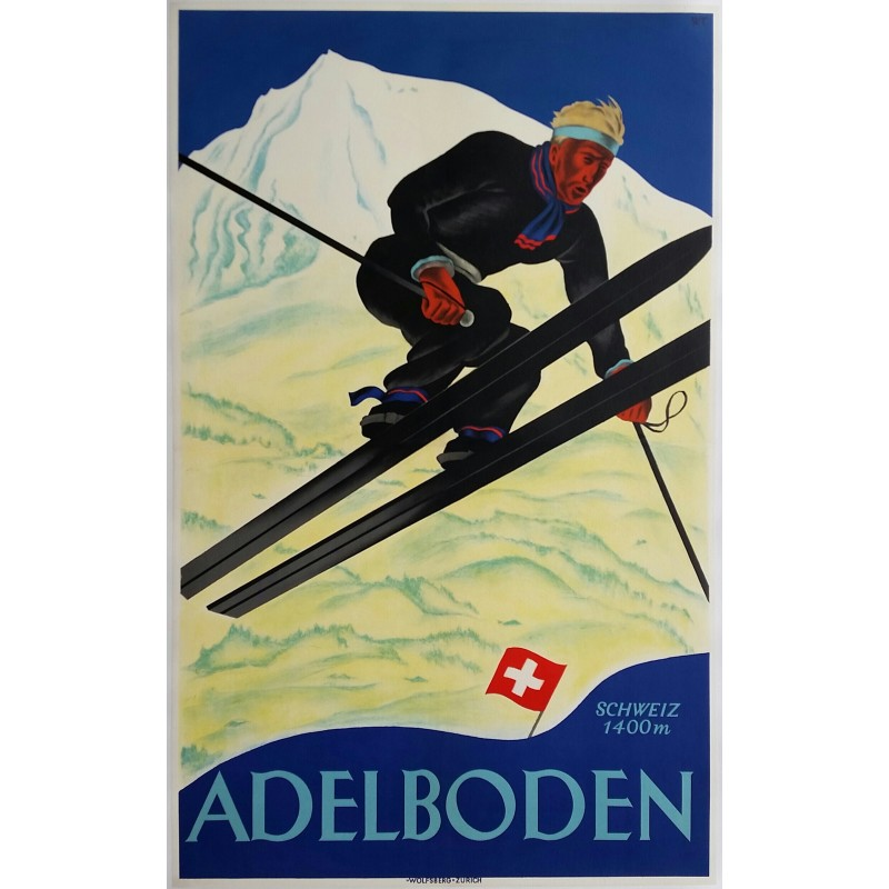 Affiche ancienne originale ski Adelboden Suisse - Willy TRAPP