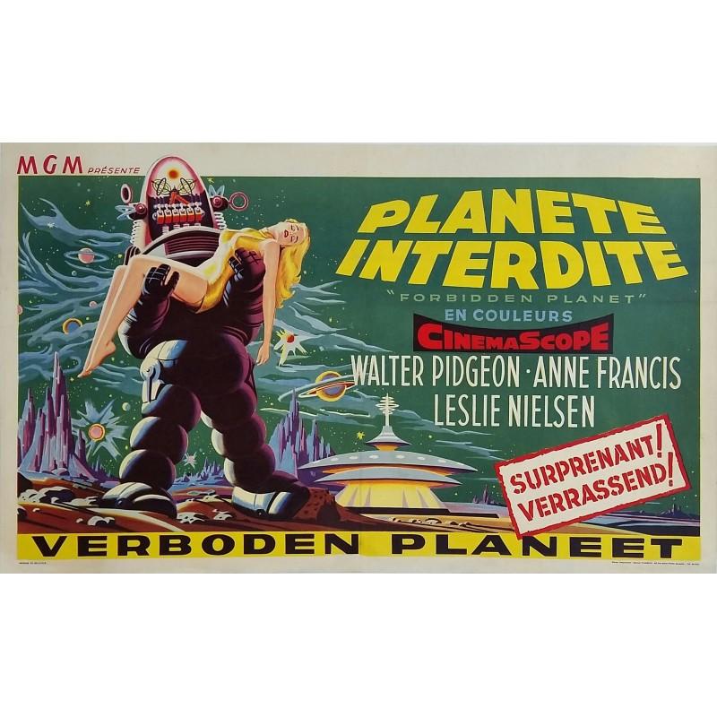 Affiche ancienne originale cinéma science fiction scifi Forbidden planet 1956