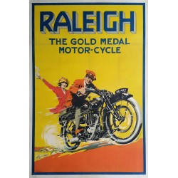 Affiche ancienne originale RALEIGH The gold medal Motor-Cycle  - S.W. LEFEAUX
