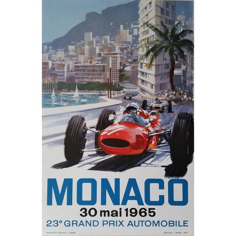 Affiche originale Grand Prix de Monaco F1 1965 - Michael TURNER