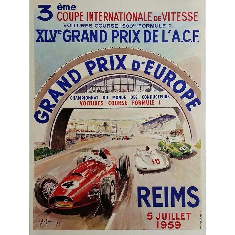 Affiche ancienne originale XLV Grand prix de l'ACF Reims 1959 - Jean DES GACHONS