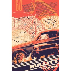 Original silkscreened poster limited edition regular print Bullitt the chase - Matt TAYLOR - Galerie Mondo