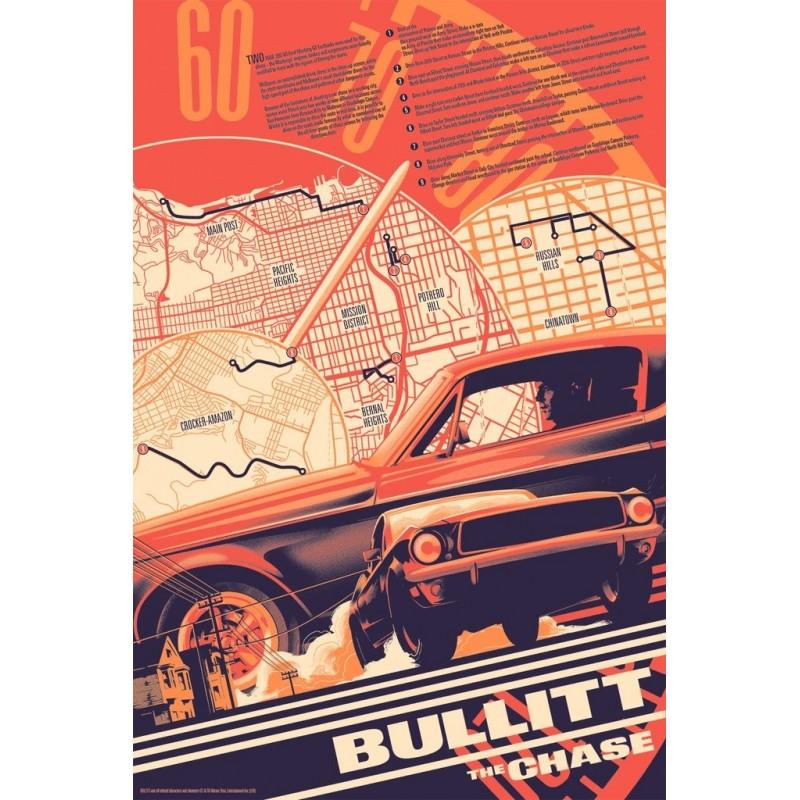 Original silkscreened poster limited edition regular print Bullitt the chase - Matt TAYLOR - Galerie Mondo