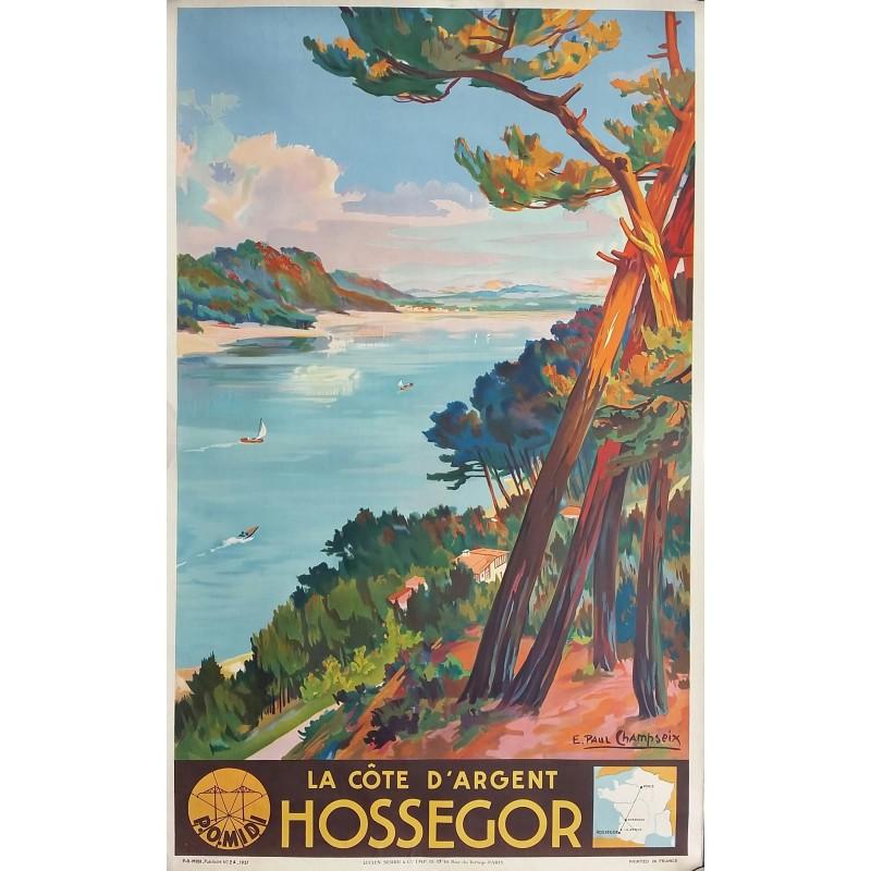 Affiche ancienne originale Hossegor, la côte d'argent - Pays basque - E PAUL CHAMPSEIX