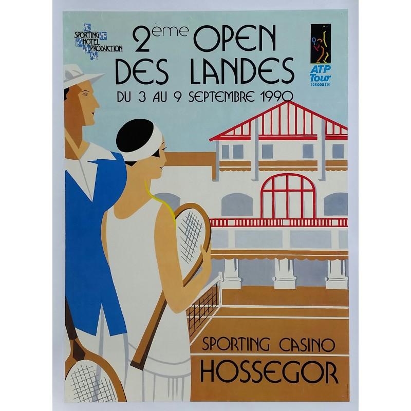 Affiche originale Tennis ATP Tour Sporting Casino Hossegor 2ème open des Landes 1990