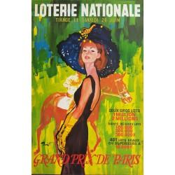 Affiche ancienne originale Loterie Nationale Grand Prix de Paris - Pierre-Laurent BRENOT