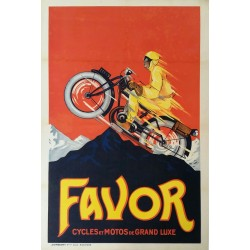 Affiche ancienne originale Favor Cycles et Motos de Grand Luxe