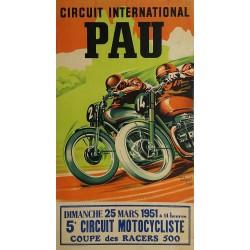 Affiche ancienne originale Pau Circuit International Coupe des racers 500 - 1951 - André BERMOND