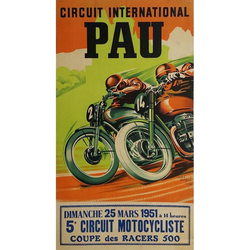 Original vintage motorcycle poster Pau Circuit International Coupe des racers 500 - 1951 - André BERMOND