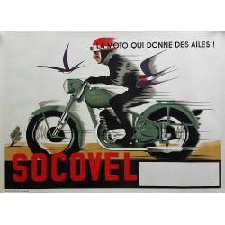 Original vintage motorcycle poster SOCOVEL la moto qui donne des ailes