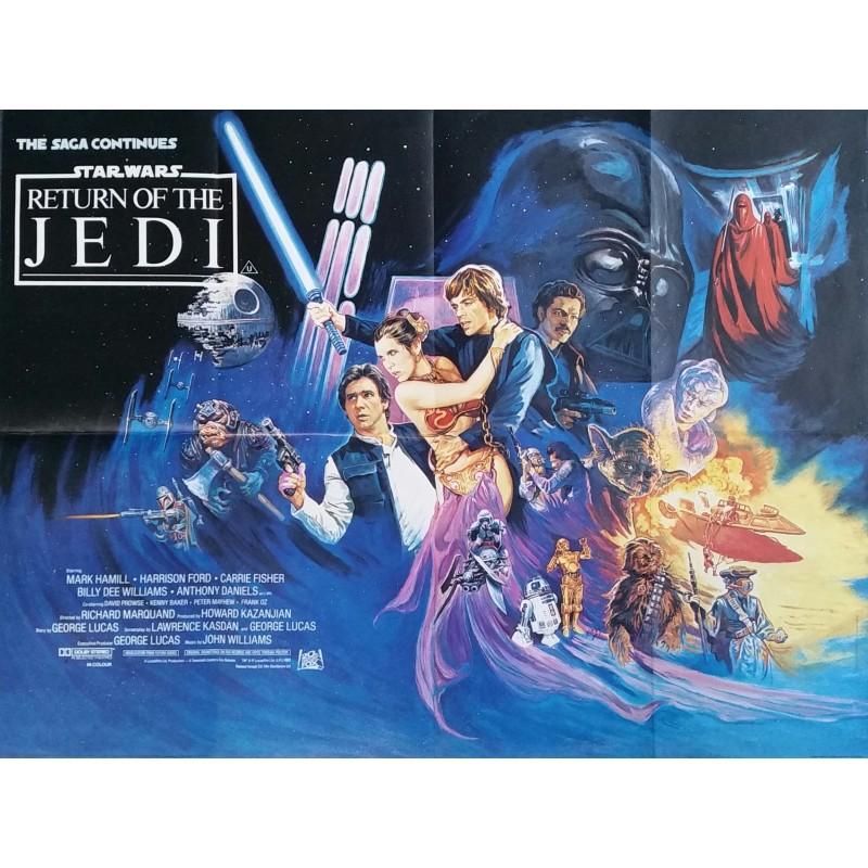 Affiche ancienne originale cinéma Return of the Jedi Star Wars trilogy UK Quad