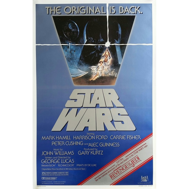 Affiche ancienne originale cinéma Star Wars is back One sheet Reissue 1982