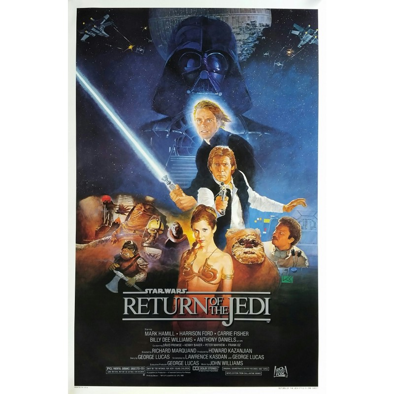 Original vintage cinema poster Return of the Jedi Star Wars One sheet Style B