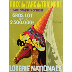 Affiche ancienne originale Loterie Nationale 5 octobre Grand Prix de l'Arc de Triomphe - Pierre TOUCHAIS