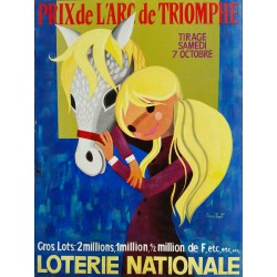 Affiche ancienne originale Loterie Nationale 7 octobre Grand Prix de l'Arc de Triomphe - CONSTANT