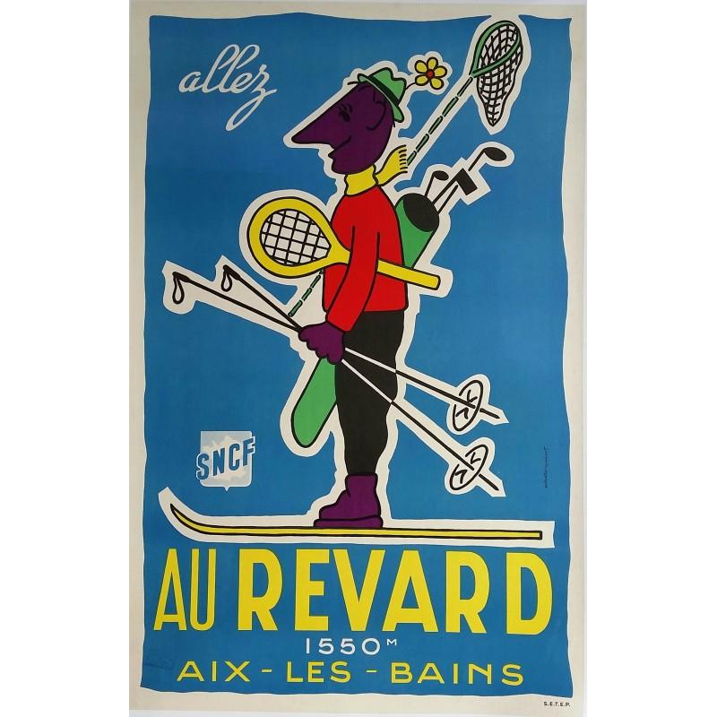 Affiche ancienne originale Allez au Mont Revard Aix les bains SNCF - Andre DEMOYENCOURT