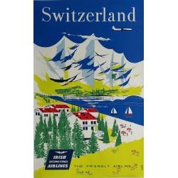 Affiche ancienne originale Switzerland Irish International Airways AER Lingus - TERRY