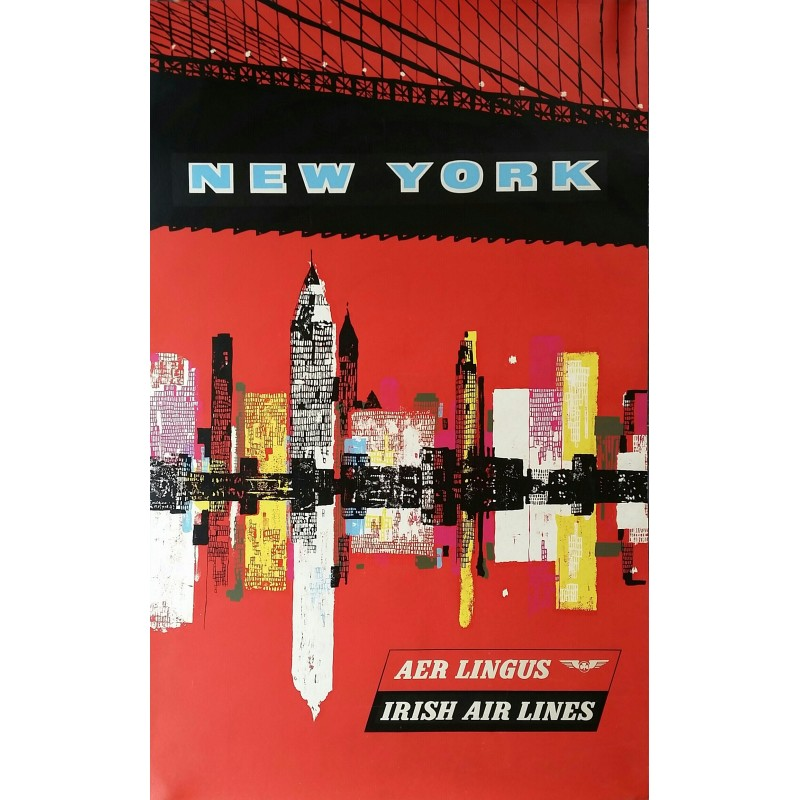 Affiche ancienne originale New York Irish Airlines AER Lingus