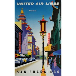 Original vintage poster United Airlines San Francisco Chinatown - Joseph BINDER
