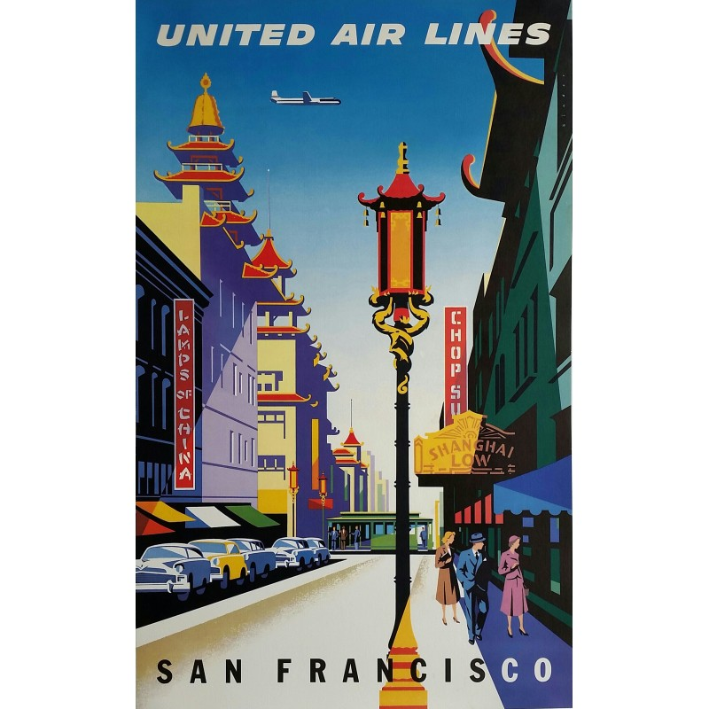 Affiche ancienne originale United Airlines San Francisco Chinatown - Joseph BINDER