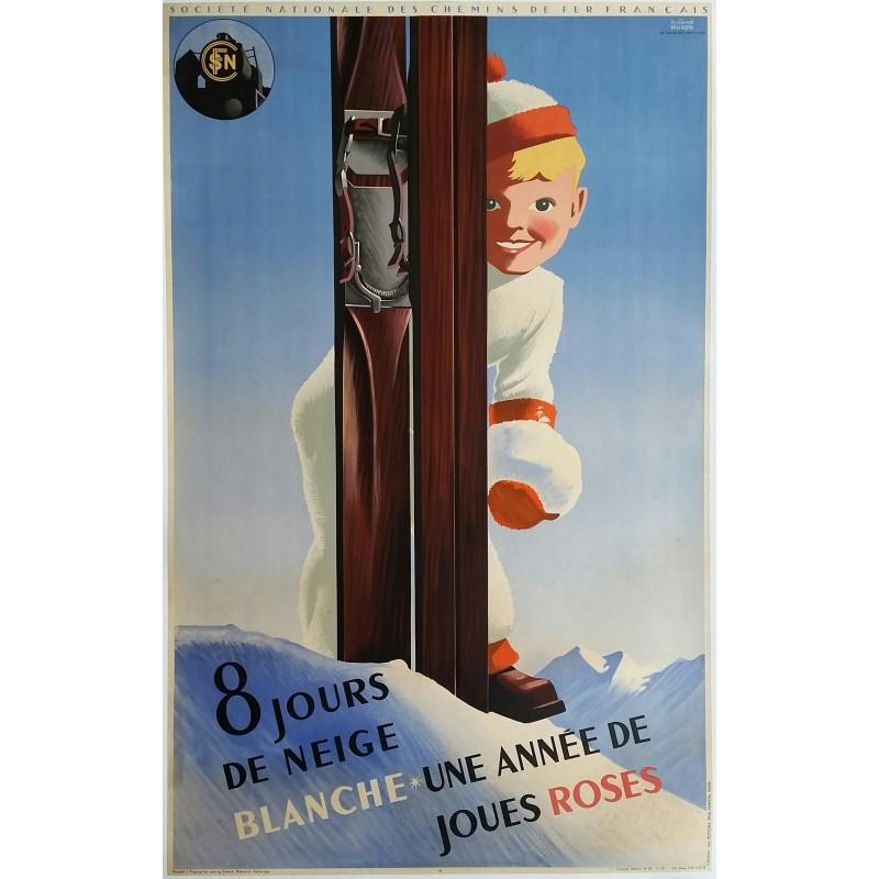 Affiche ancienne originale SNCF 8 jours de neige blanche  -1938 - Roland HUGON