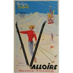 Affiche ancienne originale ski Valloire Savoie France Neige Soleil