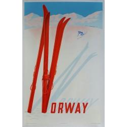 Affiche ancienne originale ski sport d'hiver Norway 1957 - Claude Lemeunier