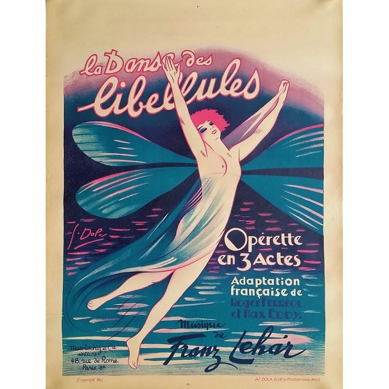 Affiche ancienne originale opérette La danse des libellules 1926 - Atelier Georges DOLA