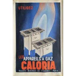 Affiche ancienne originale les appareils à gaz Caloria 1935 - Roger PEROT