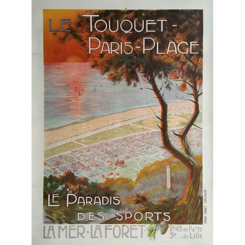 Affiche ancienne originale Le Touquet Paris Plage - Le paradis des sports