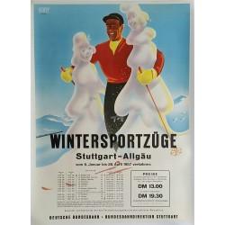 Affiche ancienne originale Ski Wintersportzüge Stuttgart Allgäu - Senger OBERJOCH