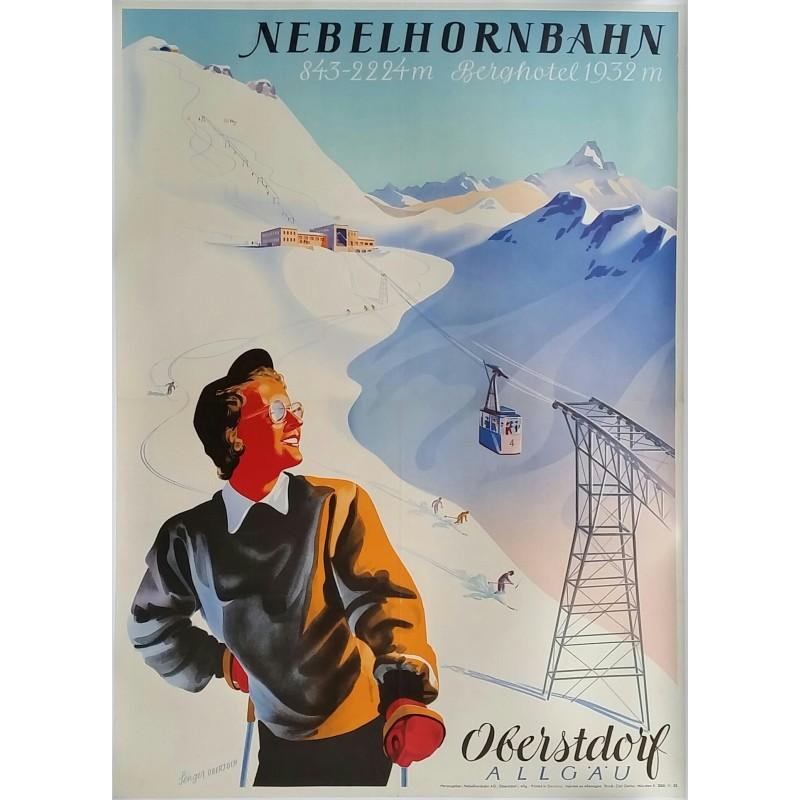 Affiche ancienne originale Ski Oberstdorf Allgäu Berghotel Nebelhornbahn - Senger OBERJOCH