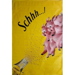 Original poster Schweppes Schhh Three little pigs 67 x 45 inches