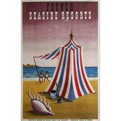 Affiche ancienne originale France seaside resorts 1947 - Jean Picart Le Doux
