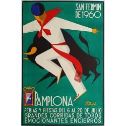 Affiche ancienne originale Pamplona San  Fermin de 1960 Corrida Feria Fiesta - Martin BALDA