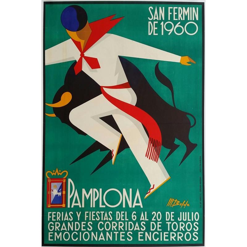 Original vintage poster Pamplona San  Fermin de 1960 Corrida Feria Fiesta - Martin BALDA