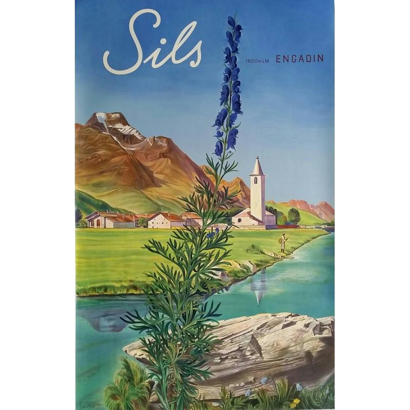 Affiche ancienne originale Sils Engadin 1800m Suisse