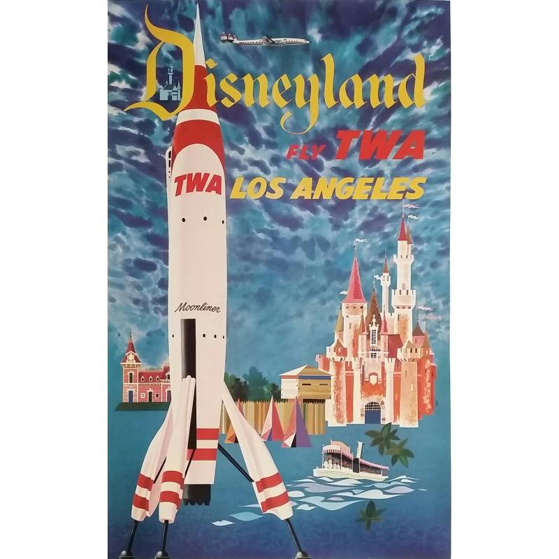 Affiche ancienne originale Disneyland Fly TWA LOS ANGELES David KLEIN